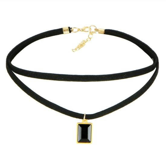 Choker nyaklánc fekete kristállyal