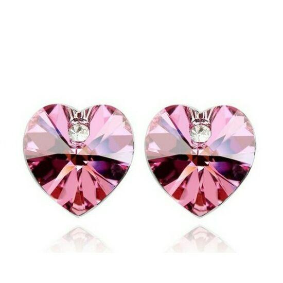 Swarovski szív fülbevaló pink