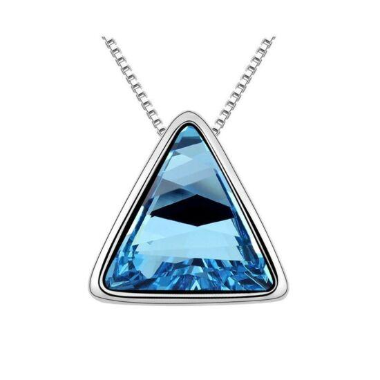 Háromszög kristály nyaklánc tengerkék