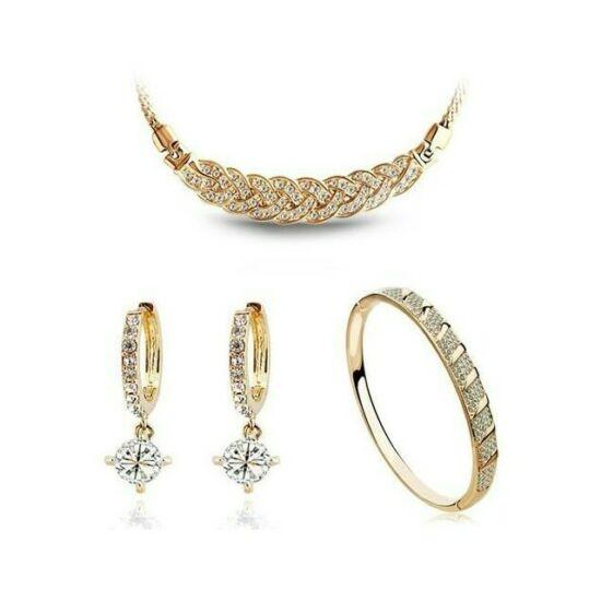 Fonott nyakláncos 3 részes szett gold-fehér