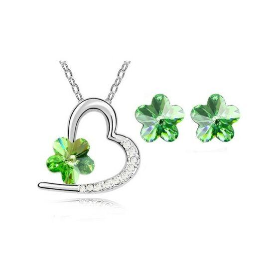Kristályos szív és virág ékszer szett zöld