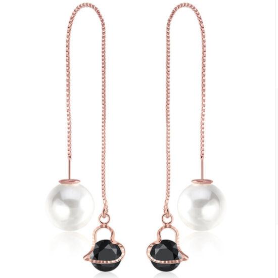 Variálható Swarovski szív és gyöngy fülbevaló rosegold-black