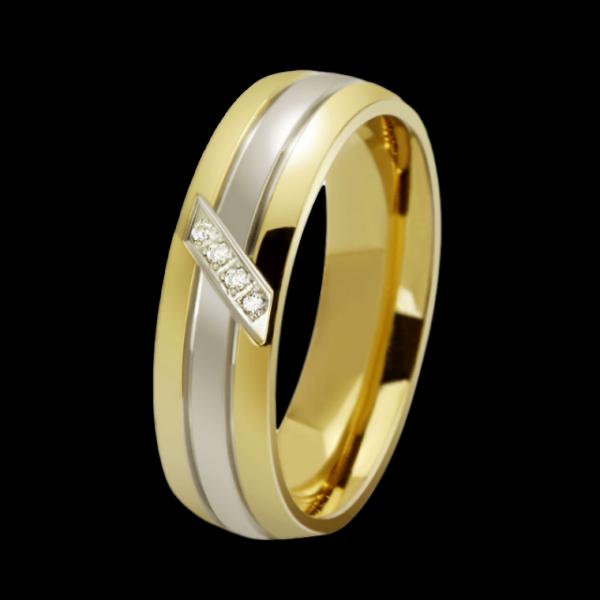 Bicolor négykristályos nemesacél gyűrű