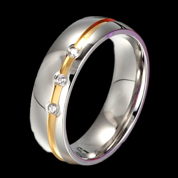 Aranycsíkos háromkristályos nemesacél gyűrű