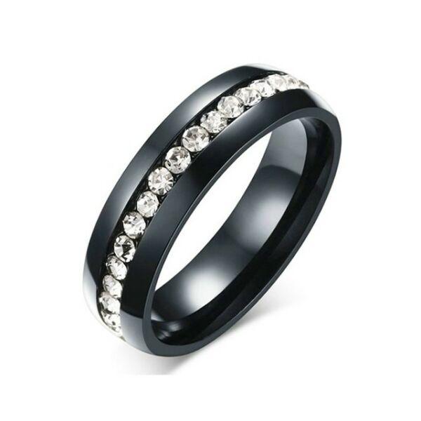 Nemesacél Smoon Luxury egysoros gyűrű fekete