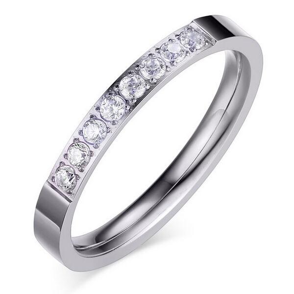 Csillogó egysoros nemesacél gyűrű whitegold