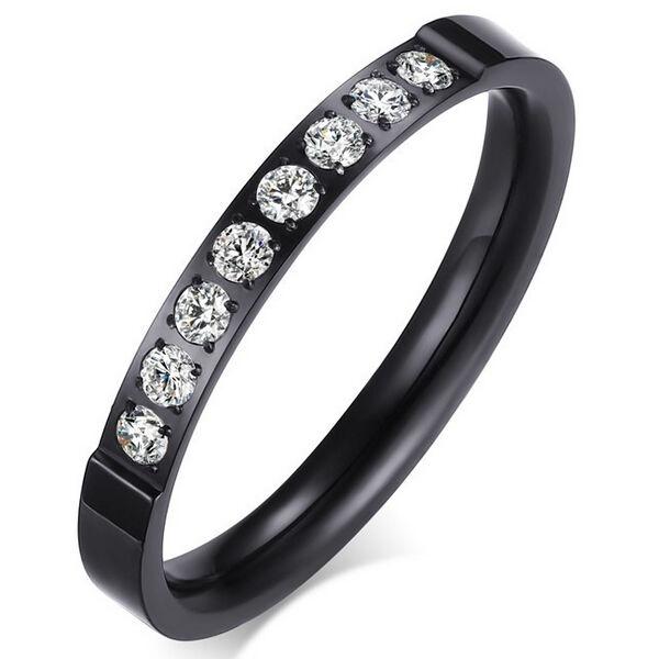 Csillogó egysoros nemesacél gyűrű fekete
