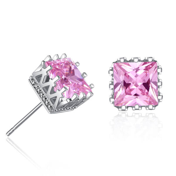 Beszúrós négyzet kristály fülbevaló pink-whitegold