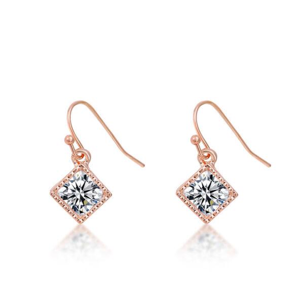 Lógós négyzet kristály fülbevaló rosegold