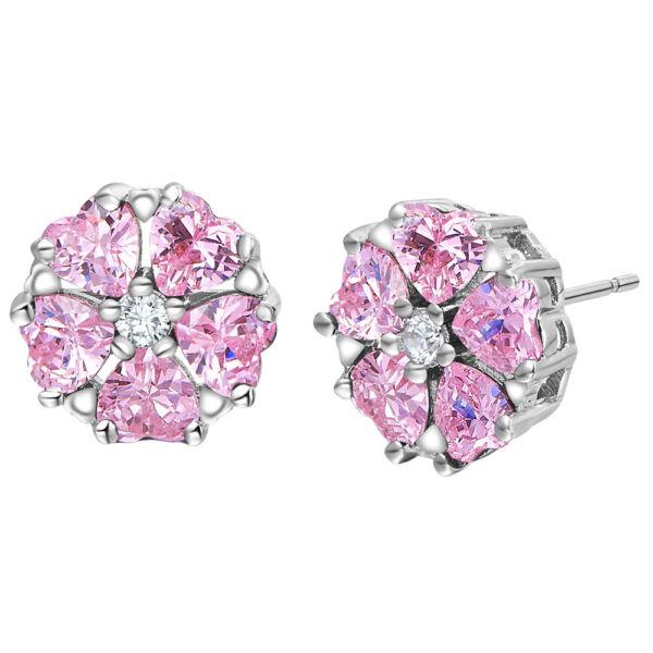 Beszúrós kristály virág fülbevaló pink