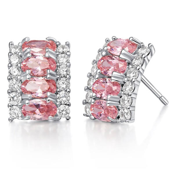 Carolina Swarovski kristályos fülbevaló pink