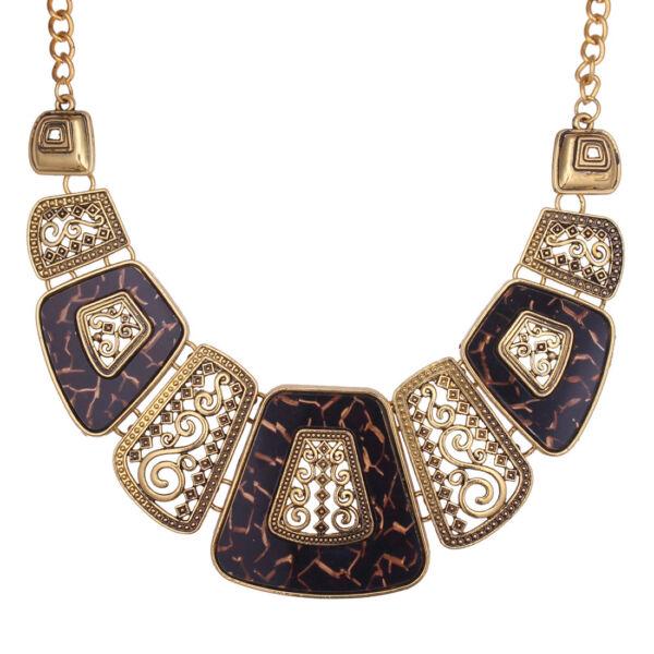 Antik trapézos nyakék gold-borostyán