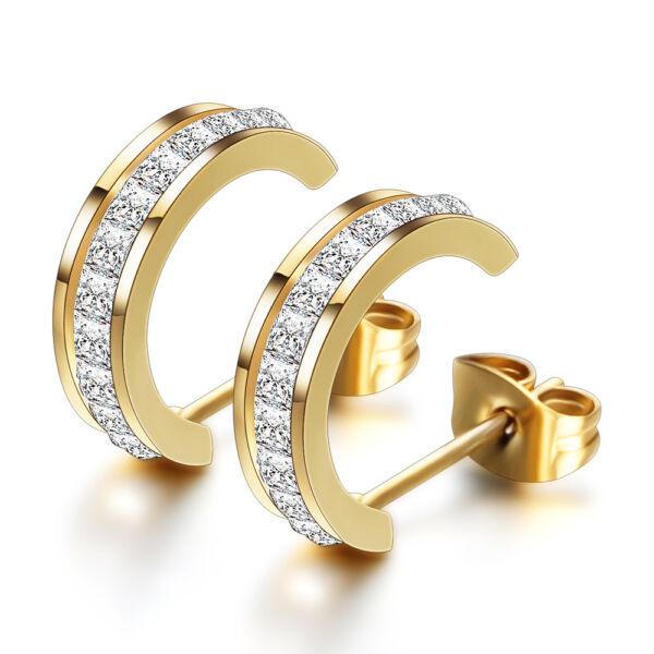 Donatella nemesacél fülbevaló Swarovski kristállyal gold