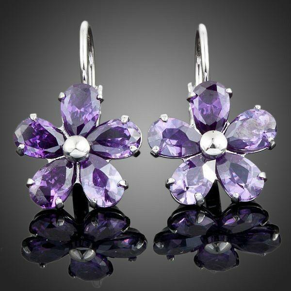 Smoon kapcsos lila virág fülbevaló