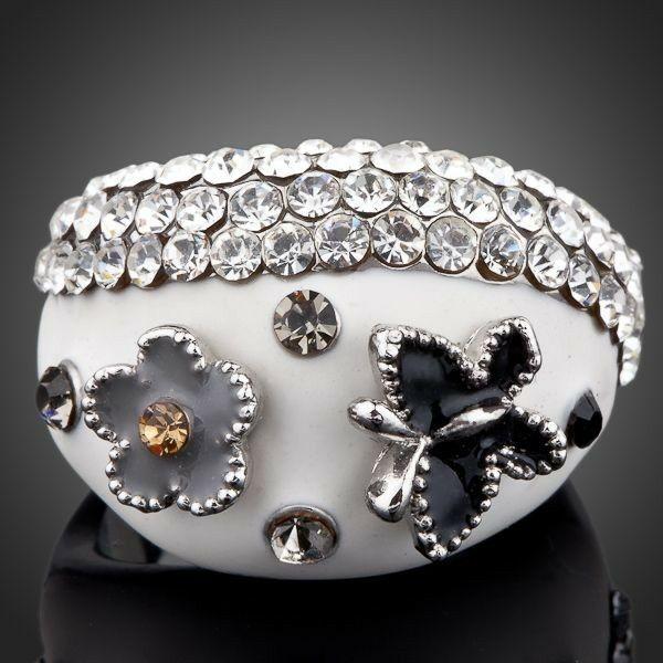 Smoon fehér virágos gyűrű