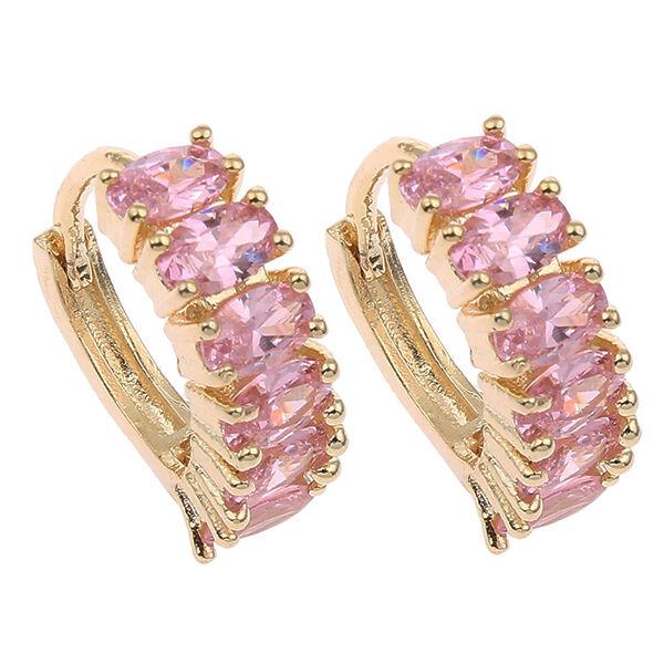 Rózsaszín álom kristályos kis karika fülbevaló gold