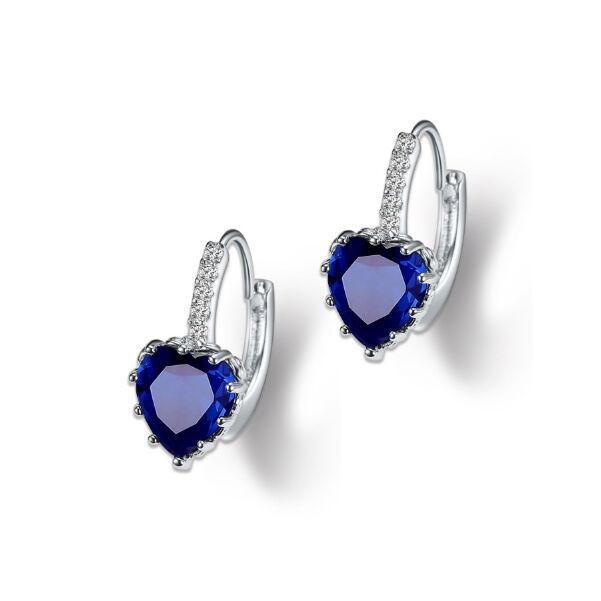 Kapcsos szív fülbevaló karibi kék