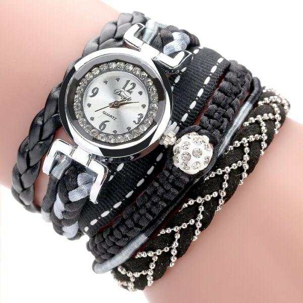 Kristálygolyós-fonott szíjas óra fekete