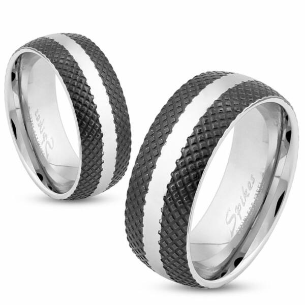 Fekete-fehér nemesacél gyűrű