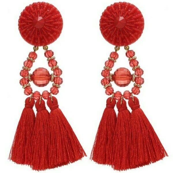 Extravagáns bojtos fülbevaló piros