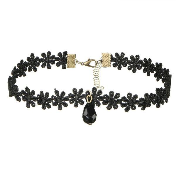 Choker nyaklánc virágos csipke fekete kristállyal