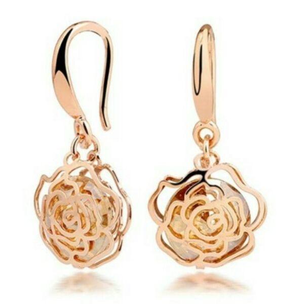 Gold-pezsgő rózsa fülbevaló