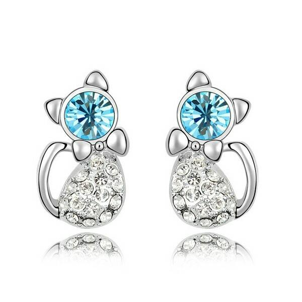 Kék Swarovski cica fülbevaló