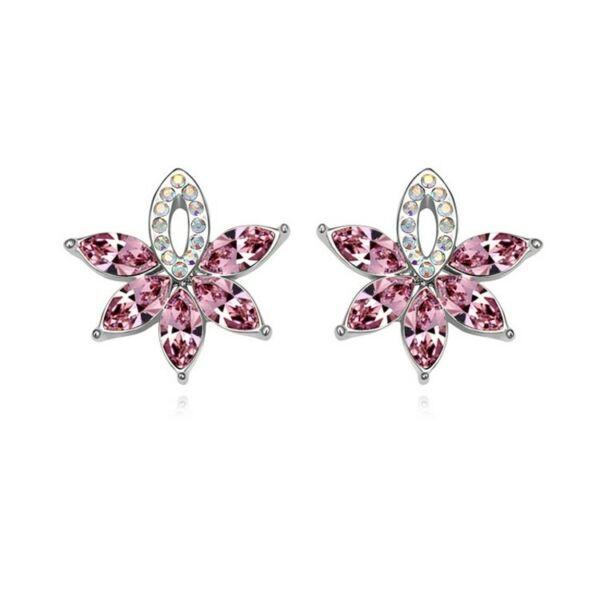 Virágkosár fülbevaló pink