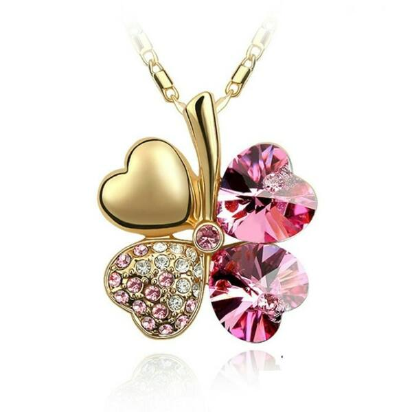 Négylevelű lóhere szerencsenyaklánc Swarovski kristállyal arany-pink