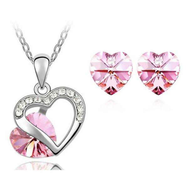 Szíves szett 9556 pink Swarovski szívvel