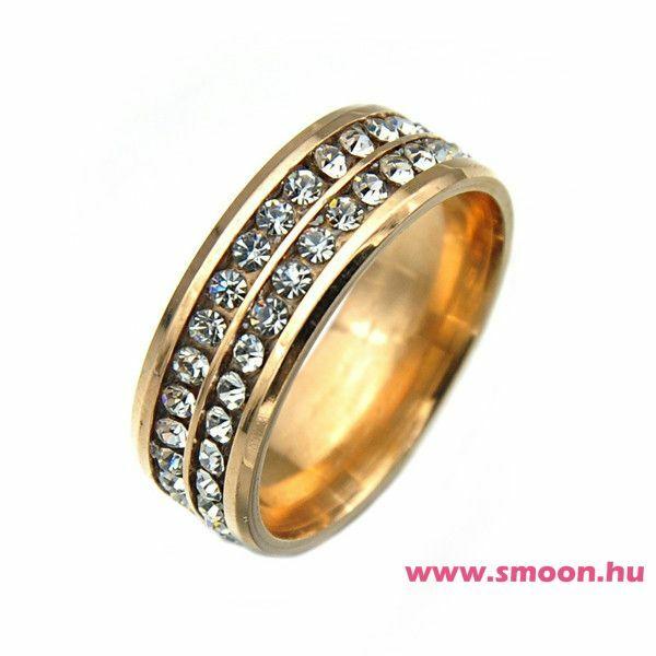 Kétsoros titánium gyűrű gold
