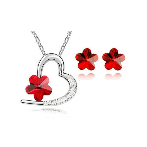 Kristályos szív és virág ékszer szett piros