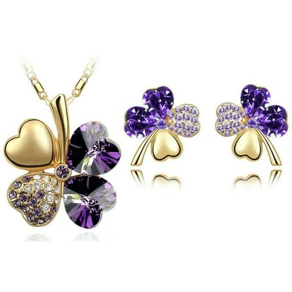 Szerencse szett lila Swarovski kővel gold