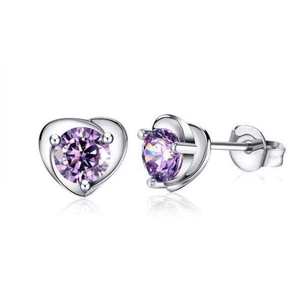 Mini beszúrós szív fülbevaló lila