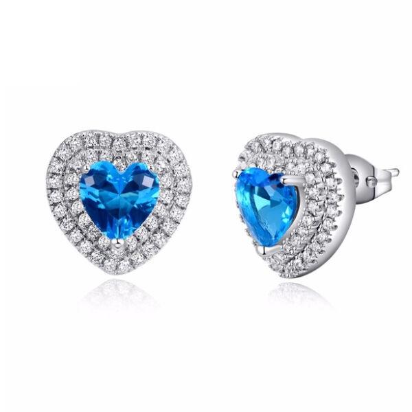 Varázslatos kék szív Swarvoski kristályos fülbevaló