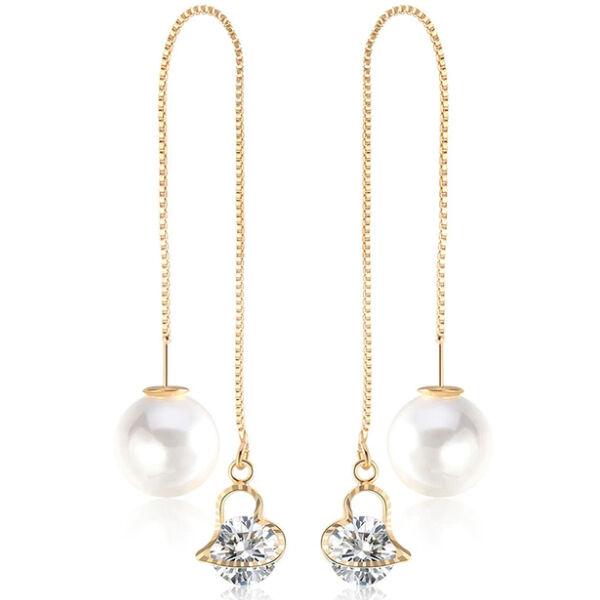 Variálható Swarovski szív és gyöngy fülbevaló gold