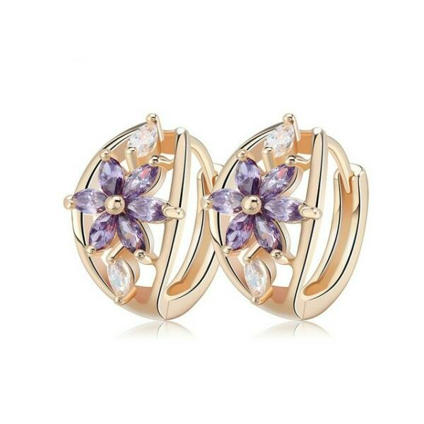 Smoon Luxury Flores purple-gold fülbevaló
