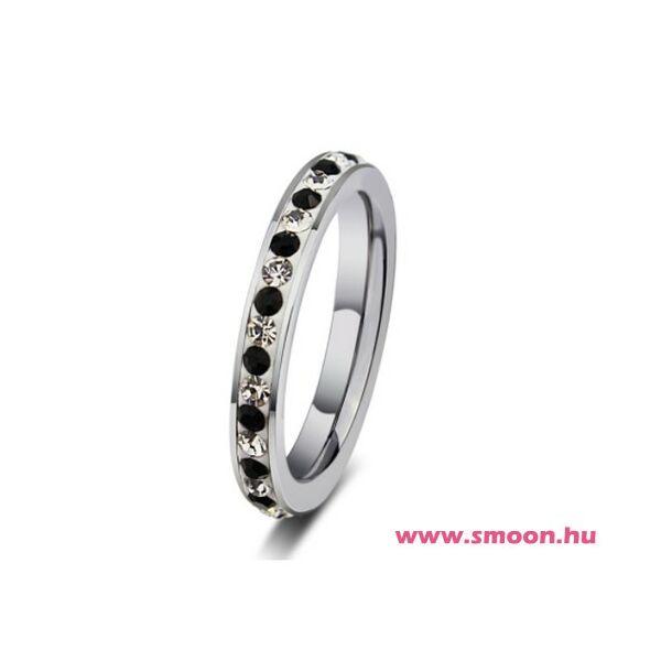 Smoon fekete-fehér kristályos gyűrű