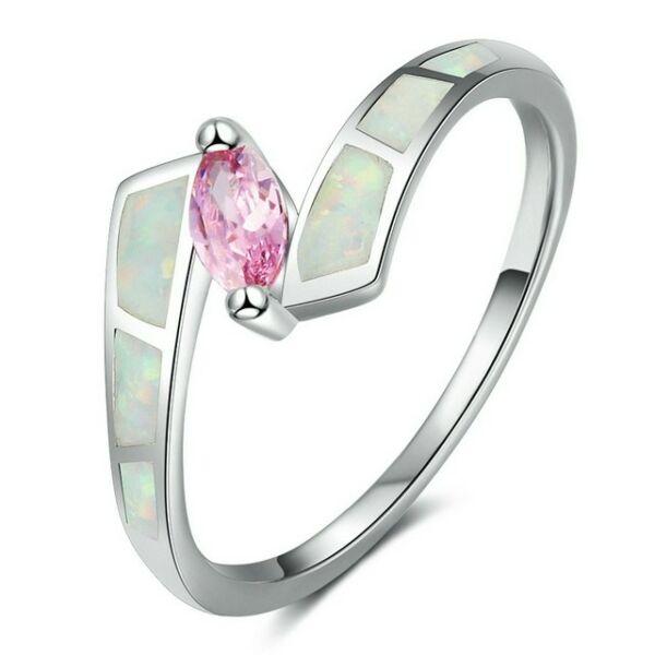 Opál gyűrű rózsaszín kristállyal 56,9 mm