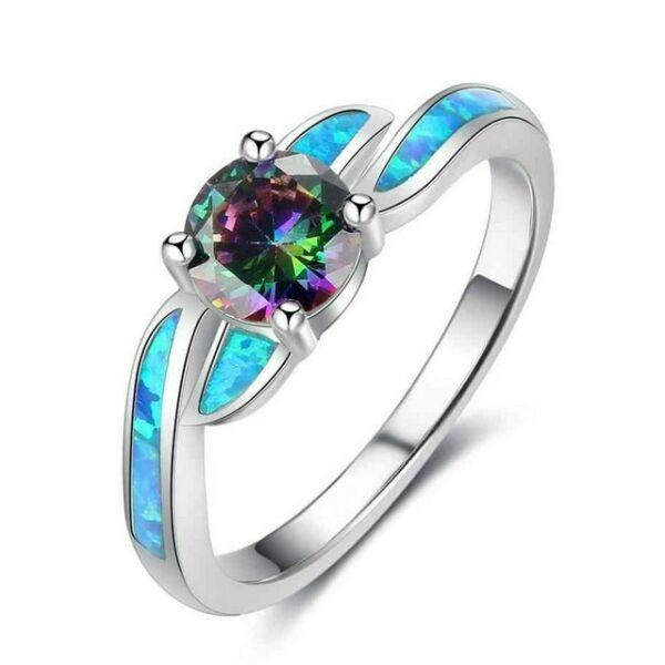 Opál türkiz varázslat gyűrű 54,3 mm