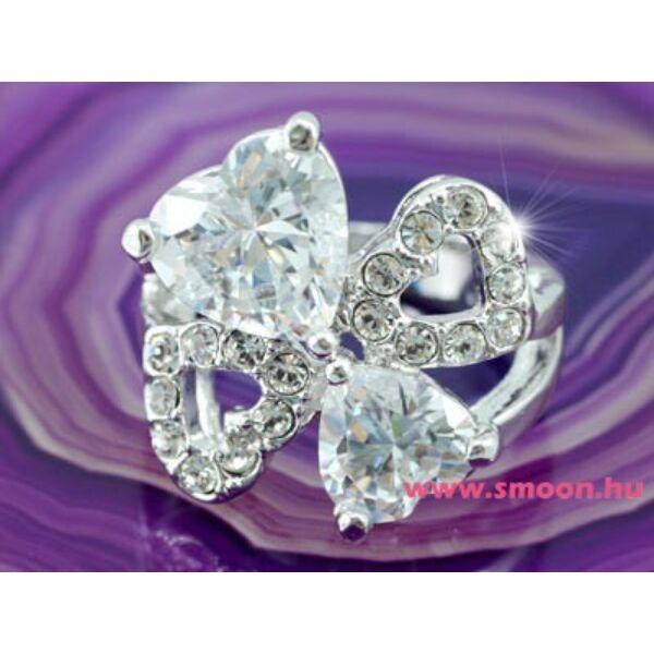 323 4 szíves egyedi kristályos gyűrű