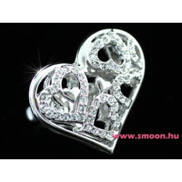 347 Nagy szív egyedi kristályos gyűrű