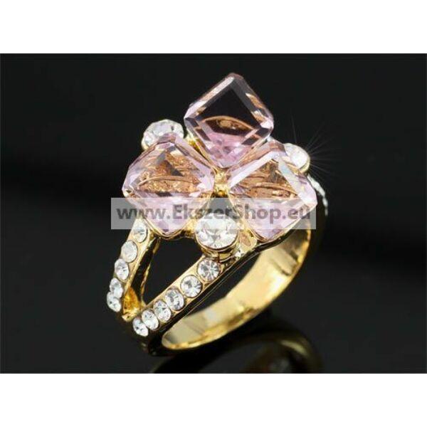 Rózsaszín Swarovski köves gyűrű 0170