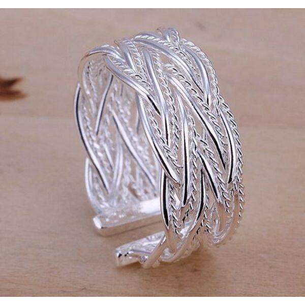 Fonott mintás ezüstös gyűrű