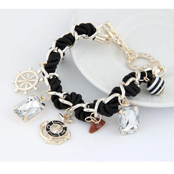 Hajós láncos karkötő fekete