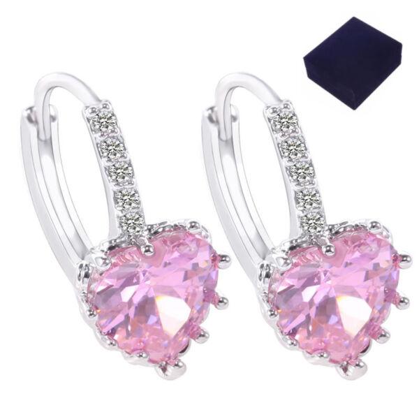 Kapcsos szív fülbevaló pink ajándék dobozzal