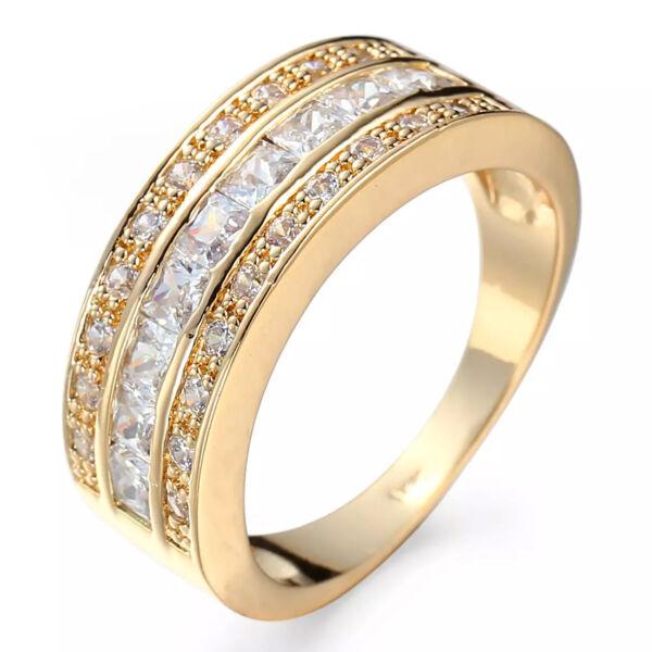 Exkluzív három kristálysoros gyűrű gold