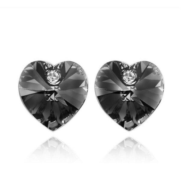 Swarovski szív fülbevaló fekete