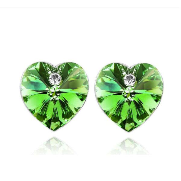 Swarovski szív fülbevaló zöld