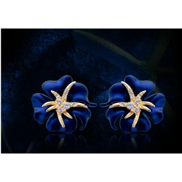 Tündöklő rózsa fülbevaló kék